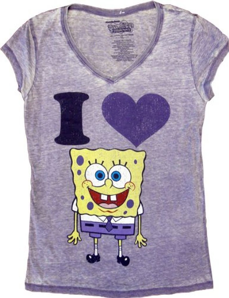 Spongebob SquarePants I Love Heart Spongebob V-Neck T-shirt - Purple - XL