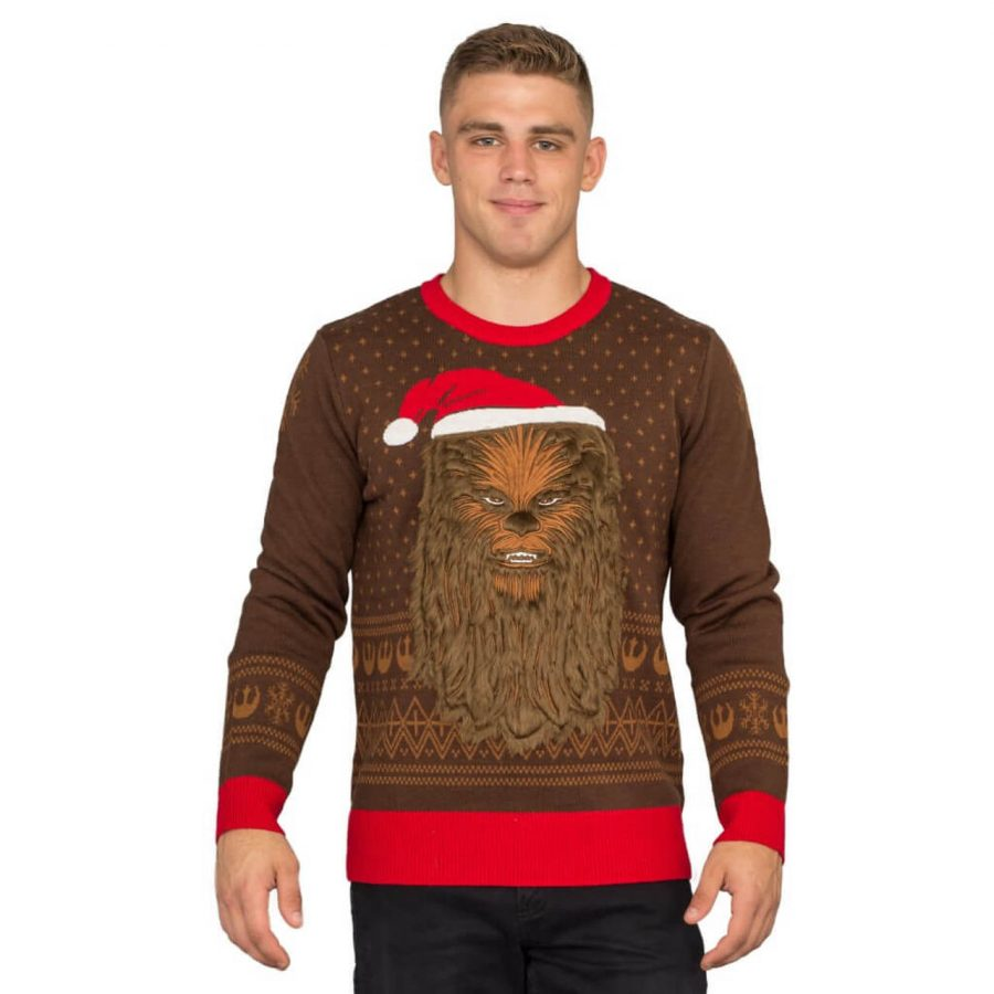 Star Wars Chewbacca Furry Face Ugly Christmas Sweater - Brown - 3XL
