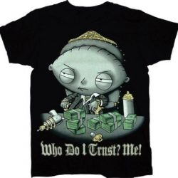 Stewie Who Do I Trust? Me! Scarface Sparkle T-Shirt - Black - 2X