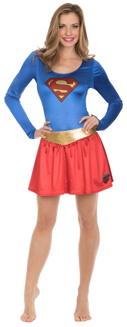Superman Bodysuit and Skirt Costume Set - Blue/Red - 2X