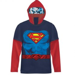 Superman Boys Navy Costume T-shirt with Hood - Blue - 8