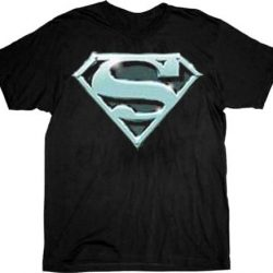 Superman Chrome Shield Logo T-shirt Tee - Black - 2X