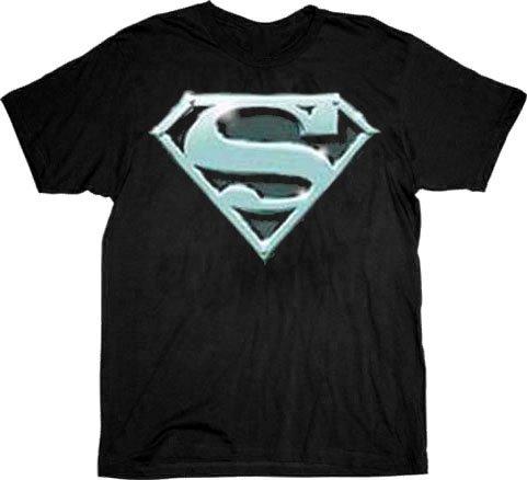 Superman Chrome Shield Logo T-shirt Tee - Black - 2X