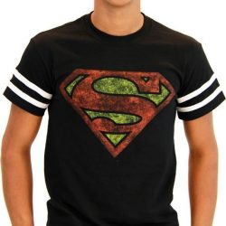 Superman Distressed Logo With Striped Sleeves T-shirt - Black - 3X