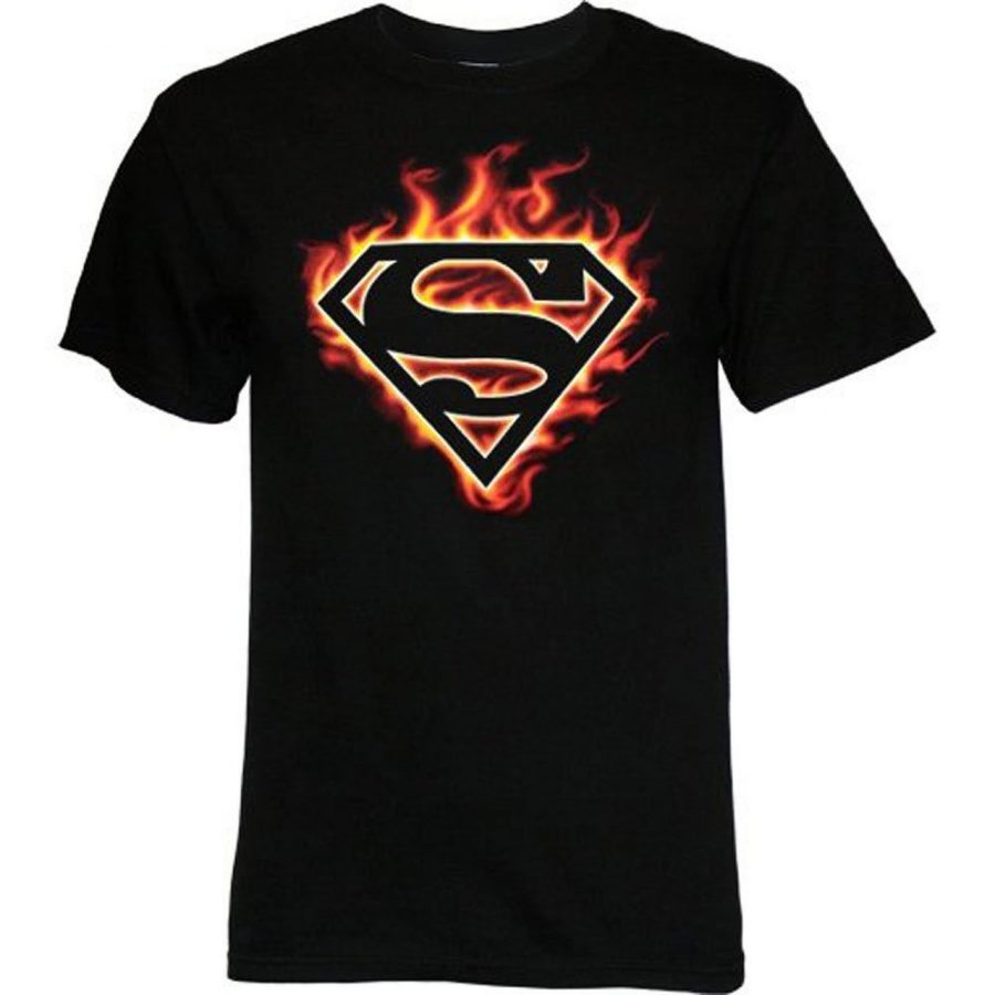 Superman Logo Flames T-shirt - Black - 2X