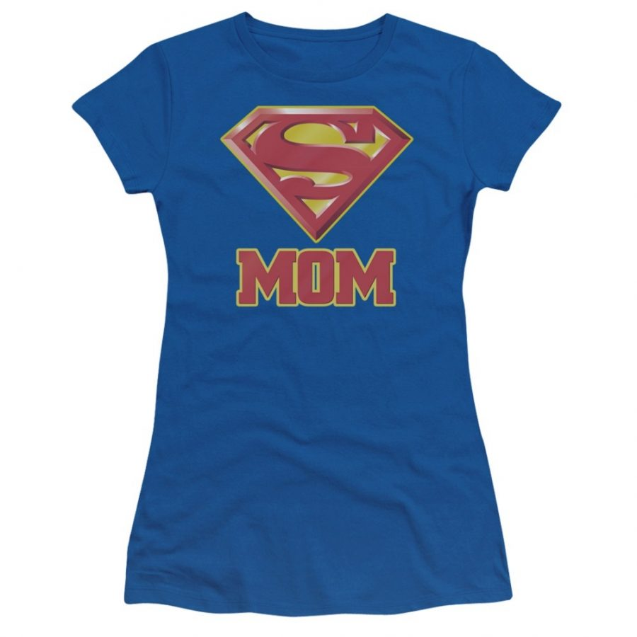 Superman Super Mom Juniors T-shirt - Royal Blue - XL