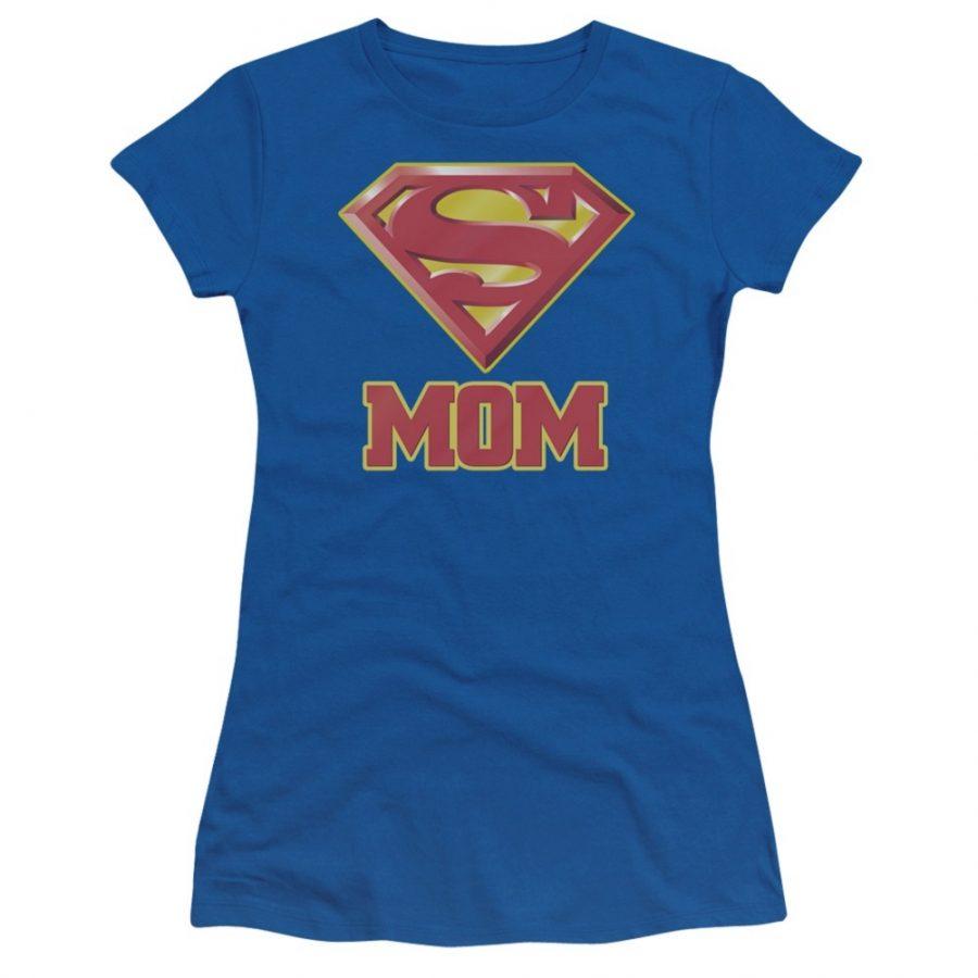 Superman Super Mom Juniors T-shirt - Royal Blue - XL