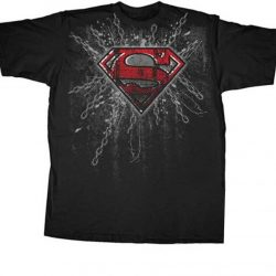 Superman Super Steel Red Foil Print T-shirt - Black - 3X