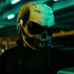 White skull motorcycle helmet in Bad Boys for Life