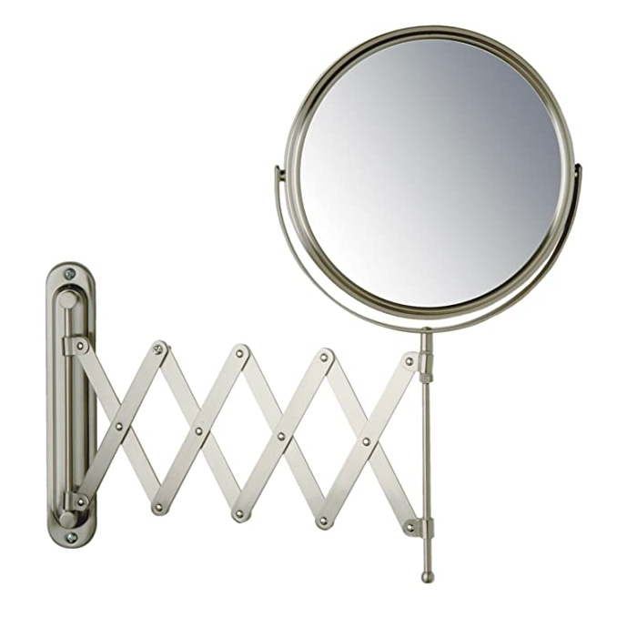 Wall mount mirror with extension